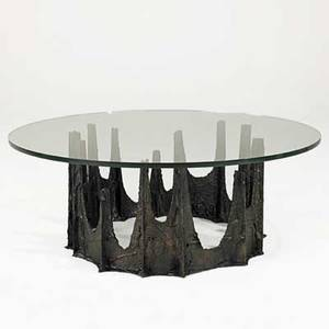 Paul evans directional sculptured metal coffee table usa 1969 bronze composite metal frame plate glass signed pe 69 16 x 42