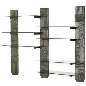 Paul evans directional sculptured metal wall unit usa 1971 bronze composite smoked glass signed pe 71 74 x 96 x 17