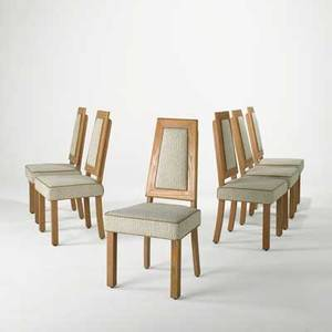James mont james mont designs set of six dining chairs usa 1950s limed oak chenille unmarked 38 12 x 19 x 21 12