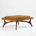Vladimir kagan grosfeld house bench usa 1950s sculpted walnut silk upholstery unmarked 16 14 x 32 12 x 32 12