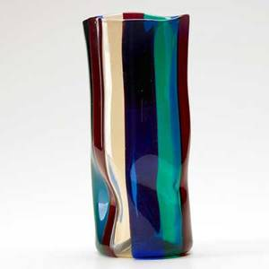 Fulvio bianconi venini a spicchi glass vase in blue green red and amber murano italy 1950s etched with three line stamp venini murano italia 9 12 x 4