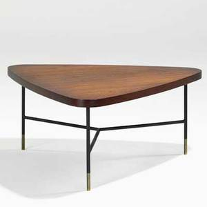 Vito latis singer  sons coffee table italy 1950s walnut enameled metal brass partial paper label 16 34 x 37 12 x 34 12