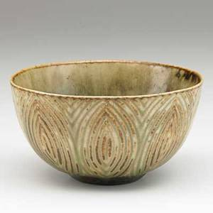 Axel salto royal copenhagen glazed stoneware vessel matte brown and celadon glaze denmark 1940s incised salto three wavy lines 2 34 x 5