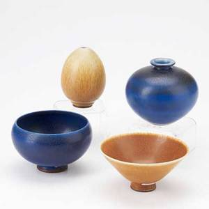 Berndt friberg gustavsberg four glazed stoneware cabinet vessels sweden 1960s incised friberg with hand largest 3 14 x 4