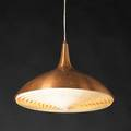 Paavo tynell taito oy hanging fixture finland ca 1950 spun and enameled copper plastic single socket unmarked 12 12 x 17 12 dia