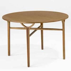 Peter hvidt and orla molgaard nielsen fritz hansen occasional table denmark 1950s beech teak foil label 22 x 36 dia