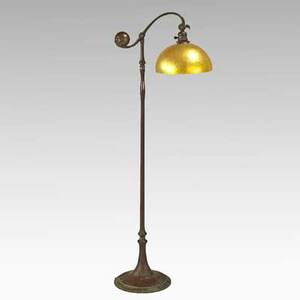 Tiffany studios counter balance floor lamp with contemporary shade new york bronze lustered glass single socket provenance property of a private delaware collector stamped tiffany studios new