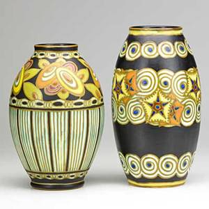 Charles catteau boch freres two glazed ceramic vases belgium 1920s shorter has indigo stamps ch catteau and circular boch freres taller marked d1091 mb 11 and 12