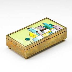 Austrian humidor with enamel inset ca 1940 stamped made in austria 2 x 7 14 x 4