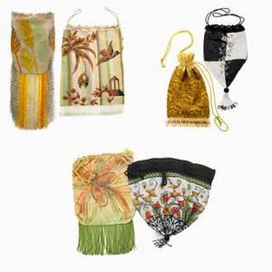 Style of wiener werkstatte six art deco evening bags austria 1920s glass beads silk kidskin cut velvet unmarked largest 11 x 8