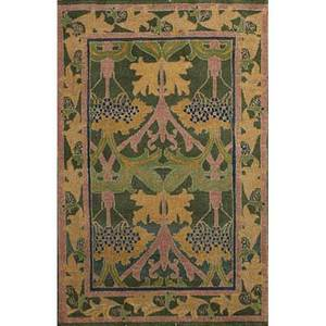 Style of william morris set of two contemporary rugs roomsize and area with botanical pattern in indigo mint and yellow on forest green ground unsigned room 8 x 98 area 4 x 6