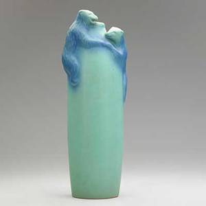 Van briggle climbing for honey vase blue and turquoise glaze colorado springs 1920s aavan brigglecolo spgs 14 12 x 5