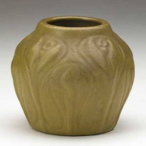 Van briggle early vessel with crocuses ochre and brown glaze colorado springs 1904 aavan briggle1491904v 3 34 x 4