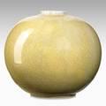 Adelaide robineau spherical porcelain vase yellow crackle glaze syracuse ny 1914 excised medallion and date 4 12 x 5