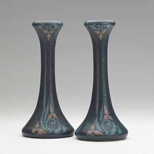 Walrath pair of candlesticks painted with trefoils rochester ny 1910s each incised walrath pottery 10 x 4 12