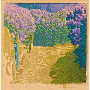 Gustave baumann american 18811971 color woodblock print a lilac year santa fe 1949 matted and framed pencil signed titled and numbered 7125 original paper label image 12 12 x 12 12