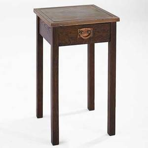 Gustav stickley drink stand with hammered copper top eastwood ny ca 1912 branded and partial paper label 25 34 x 15 x 15 note the only such example weve seen