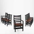 Gustav stickley set of eight dining chairs eastwood ny ca 1905 red decals armchair 39 34 x 23 12 x 20