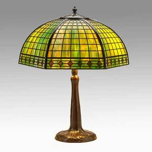 Handel table lamp with geometric faceted shade meriden ct 1920s patinated bronze slag glass two sockets base and shade marked 20 x 14