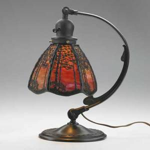 Handel adjustable student lamp with overlay tree pattern meriden ct 1920s bronze slag glass single socket stamped handel on shade and base overall 13 14 x 13 shade 6 x 7