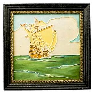 Rookwood large tile decorated in cuenca with a tall ship cincinnati ca 1920 framed no visible mark tile 12 sq