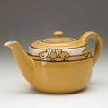Fannie levine saturday evening girls lidded teapot with chicks in cuerda seca on yellow ground boston 1919 signed seg919fl 4 12 x 8 12