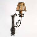 Hagert attr wall sconce with dragon usa 1927 wrought iron leaded glass provenance property of a private delaware collector unmarked 22 x 6 14