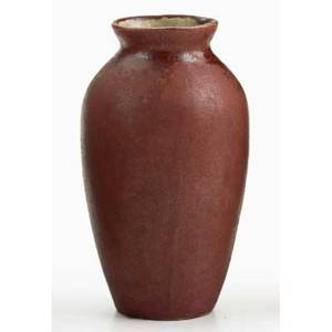 White pines small vase matte red glaze byrdcliffe ca 1915 provenance collection of mark willcox property of a private delaware collector marked e rrw exhibition the byrdcliffe arts  craft