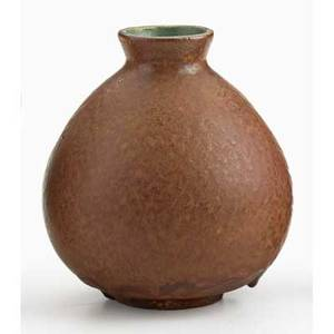 White pines bulbous vase mottled brown and green glaze byrdcliffe ca 1915 provenance collection of mark willcox property of a private delaware collector exhibition the byrdcliffe arts  cra