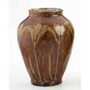 White pines vase with crocus pattern brown and red glaze byrdcliffe ca 1915 provenance collection of mark willcox property of a private delaware collector exhibitions jane byrd mccall white