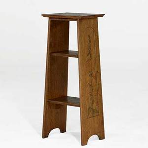 Byrdcliffe community rare magazine stand stained and carved with hollyhocks woodstock ny 1904 provenance collection of mark willcox property of a private delaware collector exhibitions the
