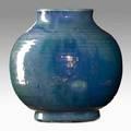 Pewabic vase blue and iridescent silver glaze detroit ca 1920 stamped pewabic detroit 7 x 7