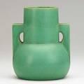 Teco bulbous twohandled vase matte green glaze terra cotta il ca 1910 stamped teco 8 x 6 12