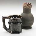 George ohr two vessels puzzle mug and bulbous folded vase biloxi ms ca 1900s both marked 3 34 and 6 14