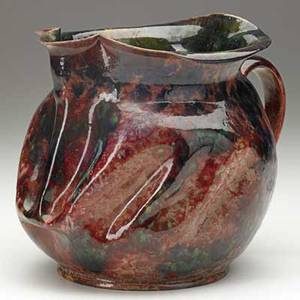 George ohr exceptional oversized pitcher with mottled raspberry blue and green glaze biloxi ms ca 1900 provenance christies lot 206 111580 stamped ge ohr biloxi miss 5 12 x 8