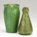 Grueby two vases with leaves matte green glazes boston ca 190510 both have stamped circular pottery mark 3 12 x 7 7 x 7 14
