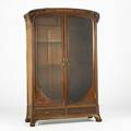 Louis majorelle large armoire with carved and inlaid poppies france ca 1905 mahogany walnut gilt bronze glass and marquetry provenance christies new york march 1991 lot 123 unmarked 90