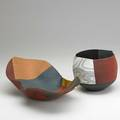 Thomas hoadley two nerikomi porcelain bowls one with gold leaf new york state 2000s marked h 5 x 16 12 x 10 and 6 x 7 x 6 12