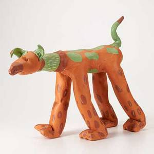 Christine federighi glazed red earthenware figure of a dog miami 1982 signed and dated 14 12 x 21 14