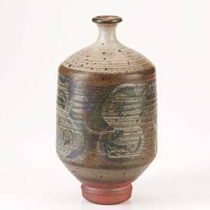Peter voulkos early glazed stoneware bottle 1950s provenance sothebys new york signed voulkos 10 x 5 12