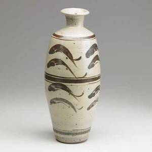Bernard leach st ives glazed stoneware tall vessel with fish england 1968 provenance letter of purchase from the artist chopmark bl 14 12 x 6
