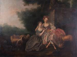 18th C French School Oil on Canvas Painting