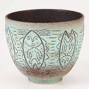 Scheier glazed ceramic vessel incised with figures inside fish green valley az 1990 signed and dated 5 34 x 6 34
