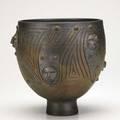 Scheier glazed ceramic footed bowl with faces bronze glaze green valley arizona signed scheier 9 12 x 9