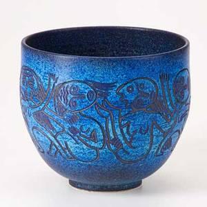 Scheier glazed ceramic vessel incised with women and children green valley az ca 1990 signed scheier 7 12 x 8 12