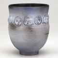 Scheier glazed ceramic vessel with faces 1960s signed scheier 7 12 x 7