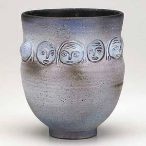 Scheier glazed ceramic vessel with faces 1960s signed scheier 7 12 x 7