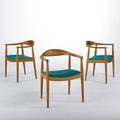 Hans wegner johannes hansenknoll the chairs set of three denamark 1960s oak and wool branded and knoll international labels each 30 x 24 34 x 21