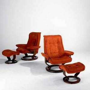 Ekornes pair of stressless adjustable lounge chairs and ottomans norway 1980s suede beech painted metal and plastic labeled chair 39 12 x 35 x 30 and ottoman 17 x 21 x 16