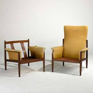 Greta jalk france  sons his and hers lounge chairs denmark 1950s teak and upholstery one chair metal label his 41 12 x 31 12 x 30 and hers 28 x 31 12 x 30